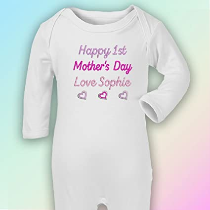 Happy 1st el día de la madre de corazones de color – Pelele de bordado en