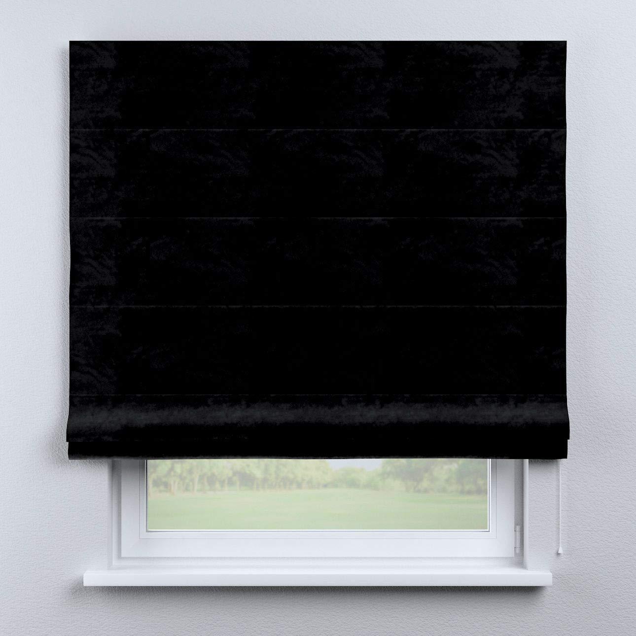 Dekoria Raffrollo Capri ohne Bohren Blickdicht Faltvorhang Raffgardine Wohnzimmer Schlafzimmer Kinderzimmer 80 × 170 cm schwarz Raffrollos auf Maß maßanfertigung möglich