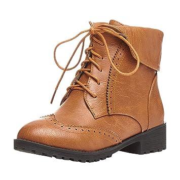 ZHRUI Zapatos de Cuero con Punta Redonda para Mujer Botines ...