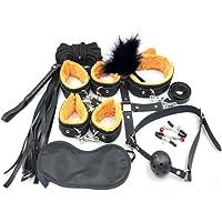 S~Mi M Tony Home- Adǔlt Sěxy Felpa Traje De 10 Piezas Esposas Cuero Femeninas Pata Baño Mastil Mariposa (Color : Black…