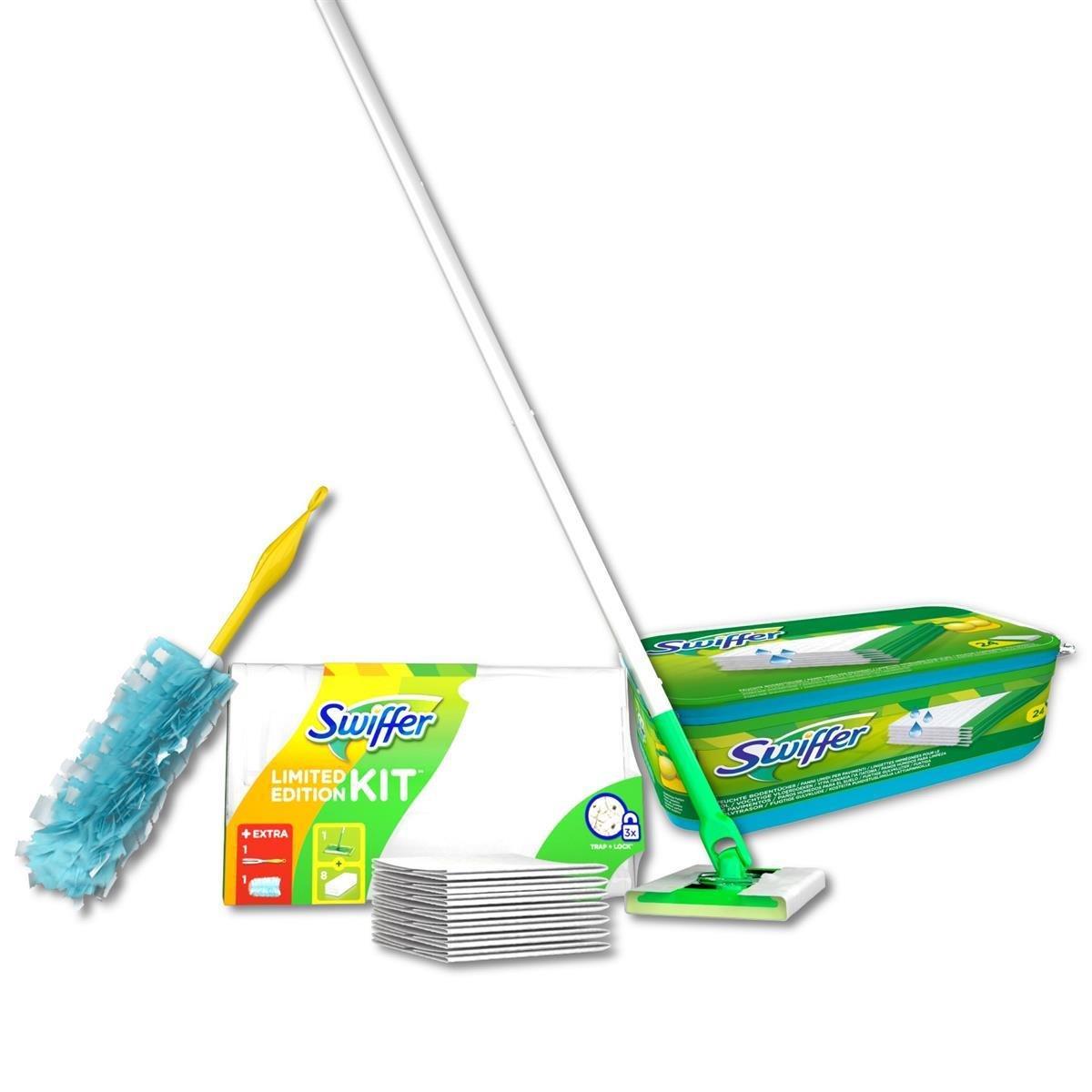 Swiffer - Juego de mopa, 8 gamuzas secas, 24 gamuzas húmedas y un plumero atrapapolvo: Amazon.es: Hogar