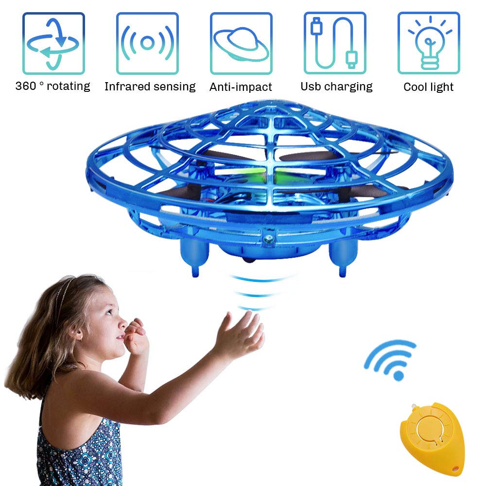 CPSYUB Hand Operated Mini Drone, Toys for 4-5 Year Old Boys, Hand Free Kids Drone Toys for 4, 5, 6, 7, 8, 9, 10, 11, 12 Year Old Boys / Girls, Easy Indoor Flying Ball Drone for Kids Toys Gifts (Blue)