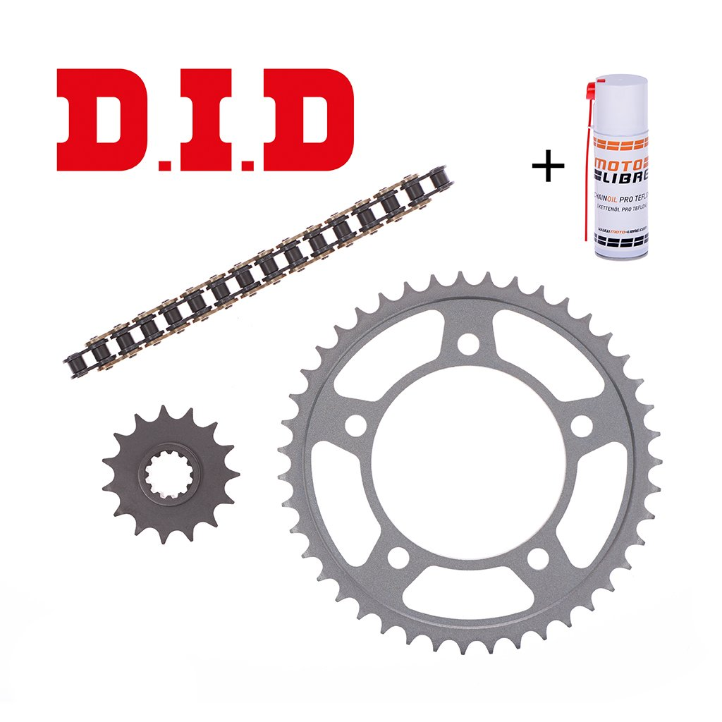 Motorcycle Chain Kit Set DID Derbi GPR 125 4T 2010-2013 incl. high quality chain, front and rear sprocket, connection link + chain lube D.I.D.