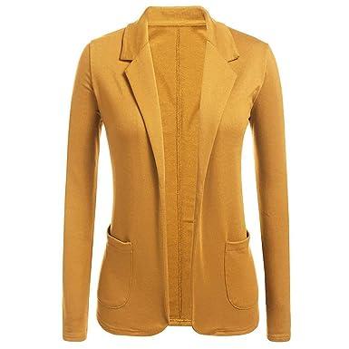 TWBB Femme Élégant Blazer à Manches Longues Slim Fit OL Veste De Costume  Basique Ajusté Manteau 8f65a5f9e749