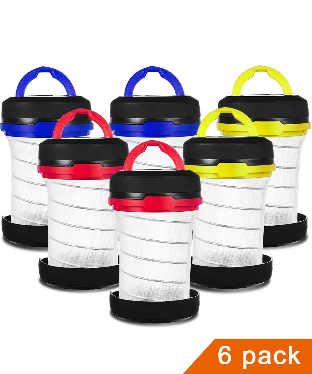 JEFAL 6 Pack Portable Camping Lantern with LED Flashlights 2 in 1, 3-Lighting-Modes Survival Tool for Hiking, Camping, Emergency, Hurricane, Power Outage - Collapsible Mini Size - Battery Powered by JEFAL