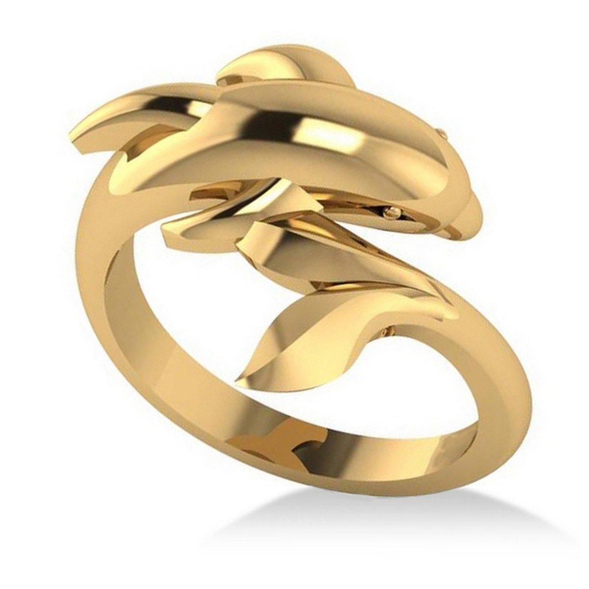 Allurez Summertime Dolphin Fashion Ring 14k Yellow Gold