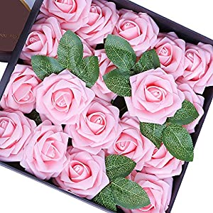 Egles Artificial Flower 20pcs Fake Flowers with Stems, Pink Rose for Gif DIY Wedding Centerpieces Arrangements Birthday Home Party Bouquets Decor 97