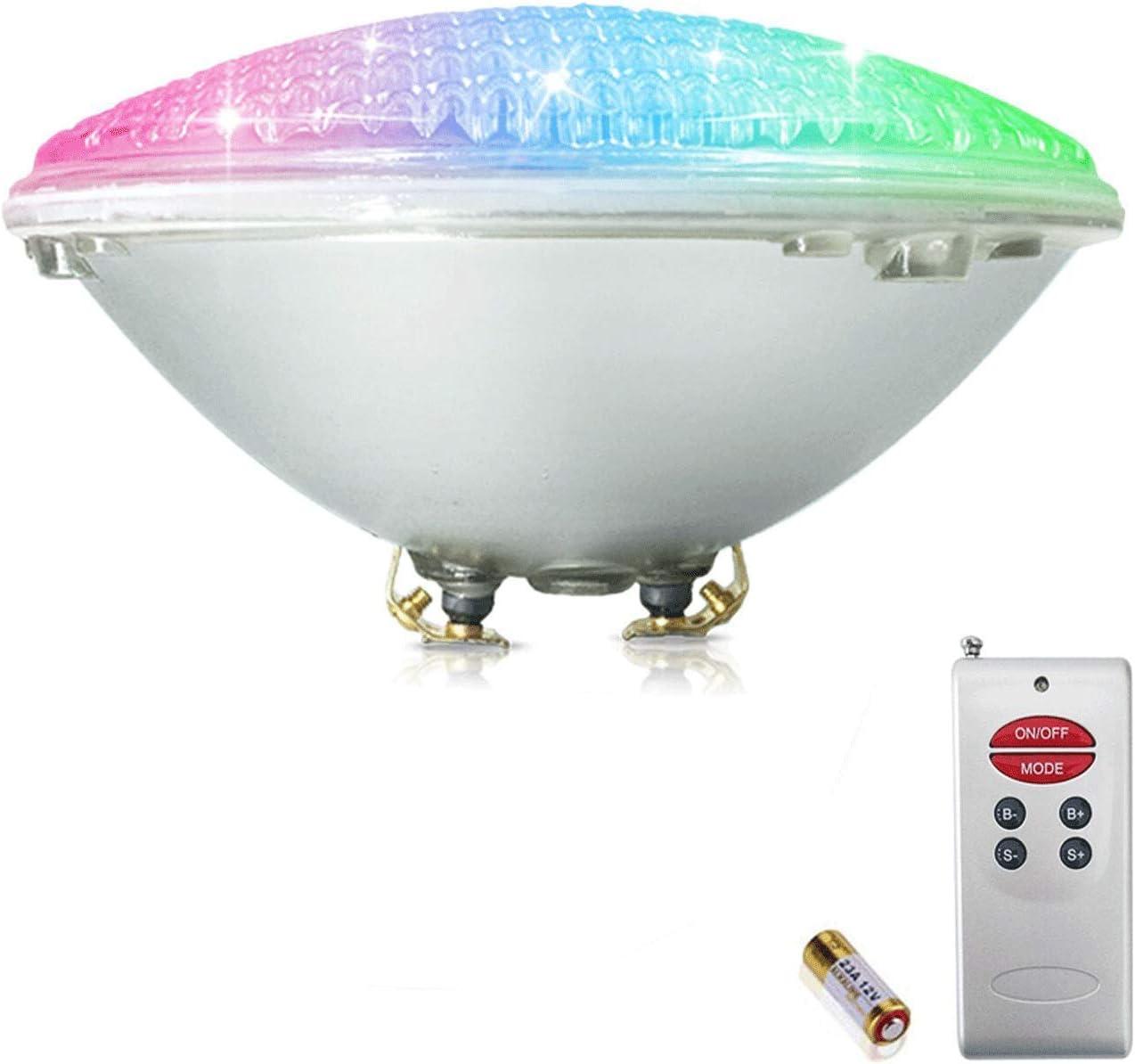 COOLWEST RGB Luces de la piscina LED PAR56 18W Iluminación de piscinas con Control Remoto 12V AC/DC, Luminarias subacuáticas IP68 impermeables Reemplazar bombillas halógenas de 150W