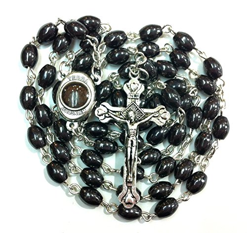 Collection Crucifix (Black Hematite Catholic ROSARY Necklace Oval Beads With Jerusalem Soil & Jesus Cross Crucifix Gift Box Holy Land Collection)
