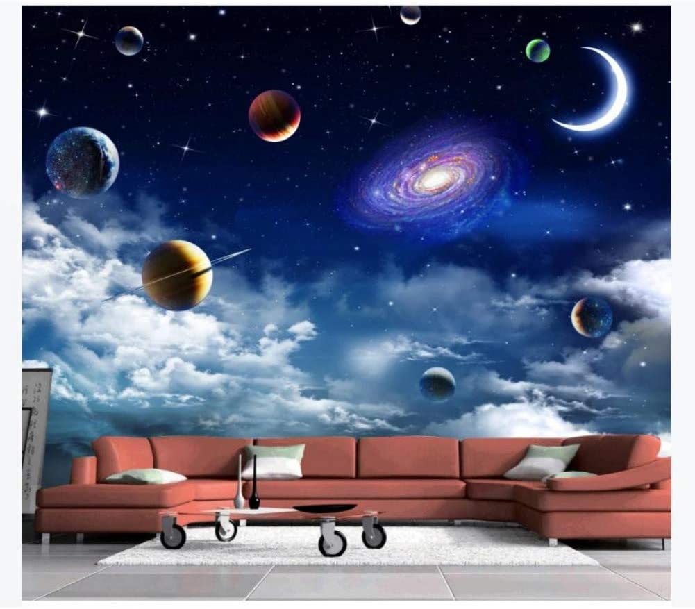 Outer space galaxy mural wallpaper living room feature wall