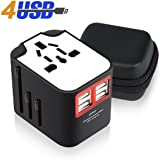 Travel Adapter, VCOO Universal All-in-One Worldwide Travel Power Adapter Wall Charger AC Plug Adapter Outlet Adapter with 4 USB Ports for UK US AU, Europe & Asia - Built-in Fuse, Gift Pouch Included