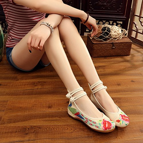 YIBLBOX Women's Chinese Traditional Ankle Strap Cloth Shoes Rubber Sole Round Toe Strappy Red Tail Peacock Embroidery Summer Wedges Sandal Dress Shoes for Cheongsam Beige p9hARY