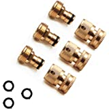 Hooshing Garden Hose Quick Connect Solid Brass 3/4 Inch Female and Male Quick Connector 3 Pack