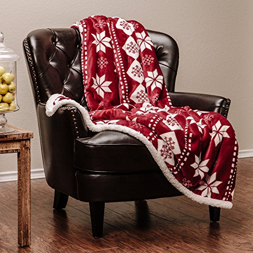 Chanasya Super Soft Ultra Plush Holiday Theme Burgundy Bright Red And White Vibrant Color Print Sofa Couch Bed Microfiber Throw Blanket  50  X 65    Burgundy Holiday Blanket
