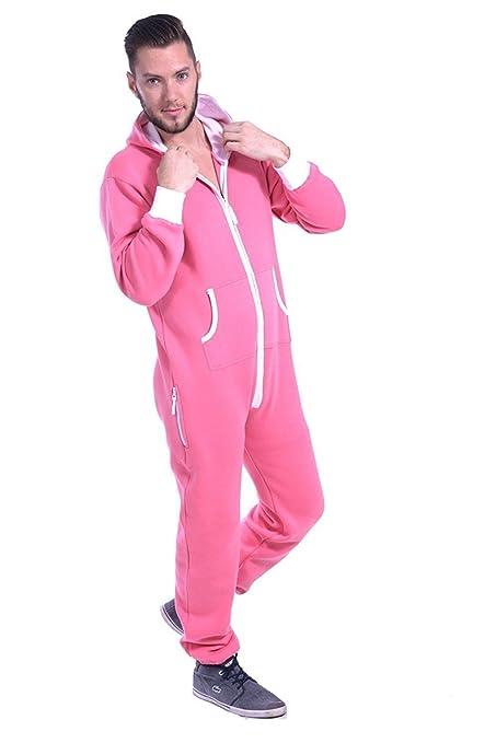 af142e2d3bcf Mens Plain Colored Onesie Hoody All In One Zip Hoodie Jumpsuit