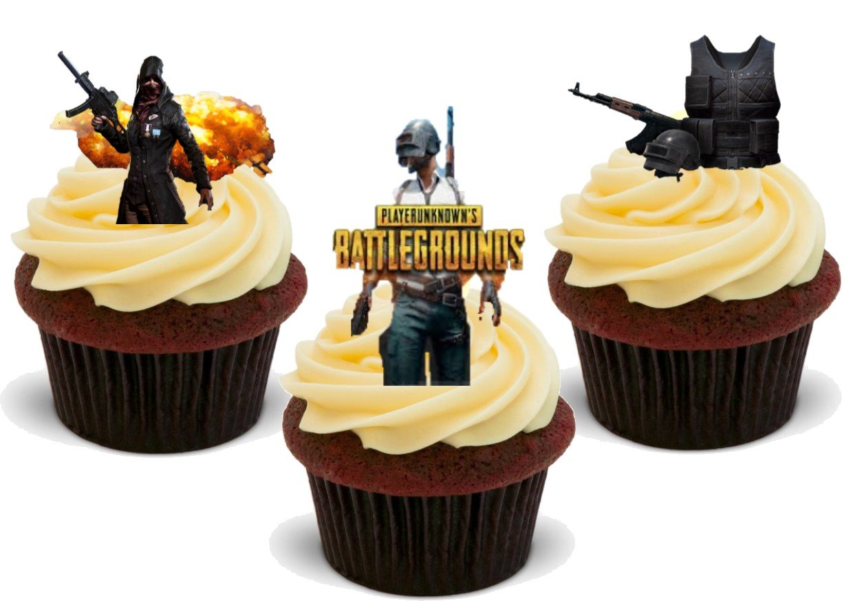 Pubg Battlegrounds 12 Edible Stand Up Premium Wafer Card Cake