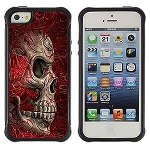Suave TPU GEL Carcasa Funda Silicona Blando Estuche Caso de protección (para) Apple Iphone 5 / 5S / CECELL Phone case / / Red Blood Skull Bones Death Biker /