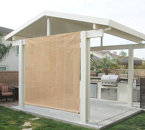 Alion casa Rod bolsillo parasol Panel w/ojales en 3 partes para Patio toldo, toldo, cubierta de ventana, Instant Pared lateral, pérgola o RV: Amazon.es: Jardín