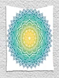 Ambesonne Mandala Decor Collection, Aquatic Color Mandala Pattern with Sun in Center Indian Art Meditation Zen Theme, Bedroom Living Room Dorm Wall Hanging Tapestry, Yellow Green Blue