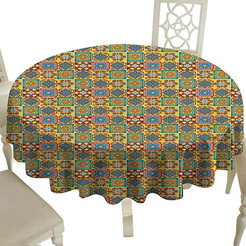 floral round tablecloth 50 Inch Traditional,Floral Ethnic Tile Mosaic Style Azulejo Portuguese Moroccan Cultural Motif,Multicolor Suitable for traveling,outdoors,family,restaurant,coffee shop More -