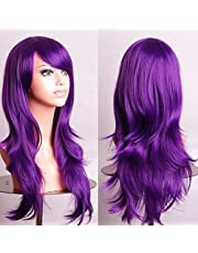 70cm Wavy Curly Sleek Full Hair Lady Wigs w Side Bangs Cosplay Costume Womens, Purple