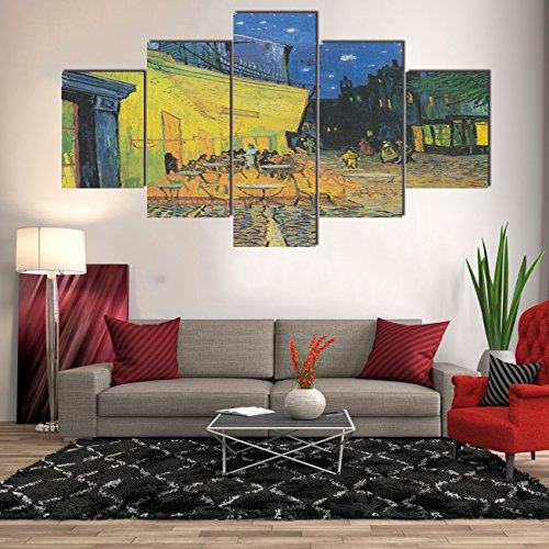 Yatsen Bridge Painting Modern Home Decor Wall Art Large The Cafe' Terrace at Night by Vincent Van Gogh Picture 5 Panel Canvas Prints Artwork Giclee Framed Hooks Stretched Ready to Hang(60''Wx40''H) ()