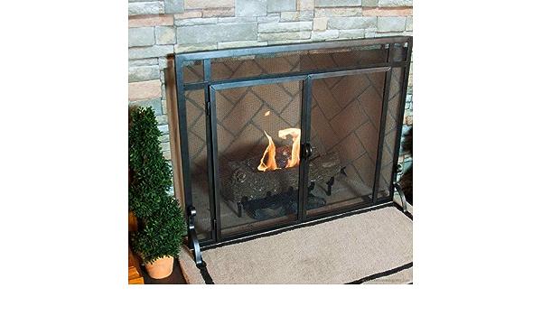 Amazon Com Black Freestanding Fireplace Screen W Doors 39 In Width Home Kitchen
