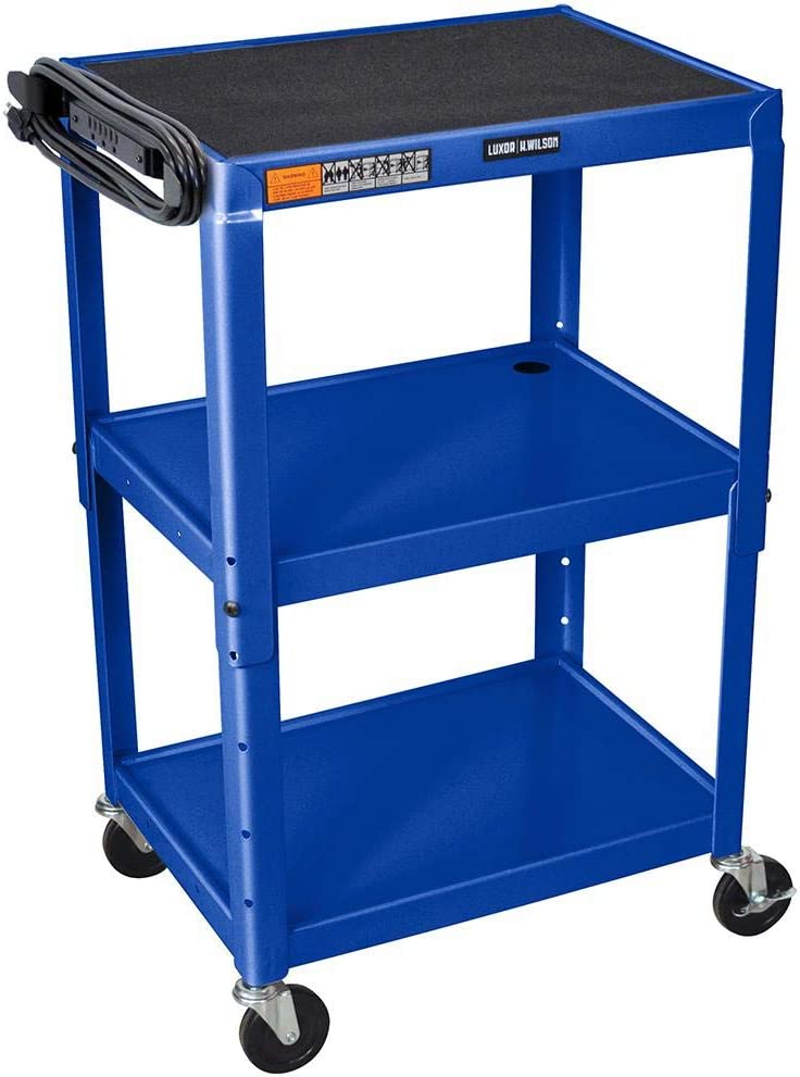 "LUXOR AVJ42-RB Adjustable Height Steel Cart, 42"" H Table, Royal Blue"