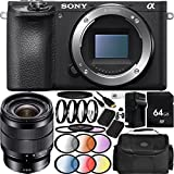 Sony Alpha a6500 Mirrorless Digital Camera with E 10-18mm f/4 OSS Lens 23PC Accessory Bundle - Includes 64GB Memory Card + 2 Replacement FW-50 Batteries + MORE