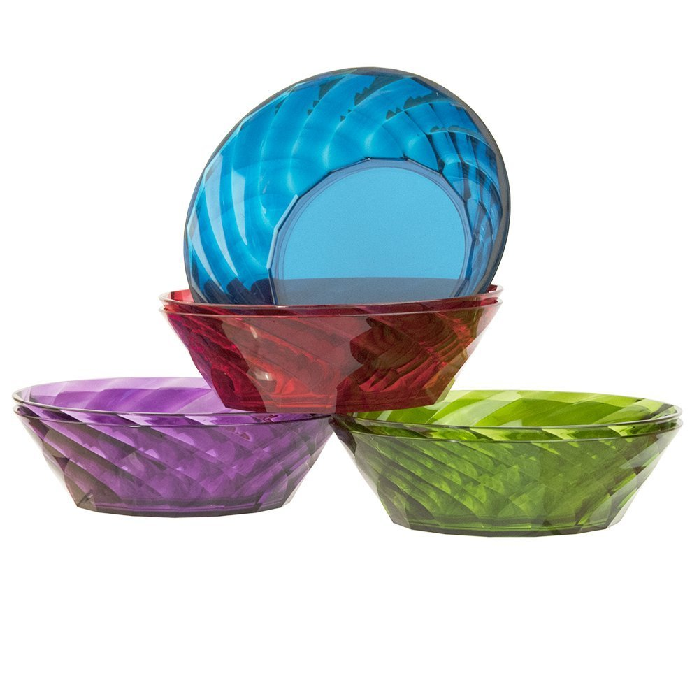 Optix 25-Ounce Plastic Cereal/Soup Bowls | Set of 8 in 4 Assorted Colors US Acrylic 0387