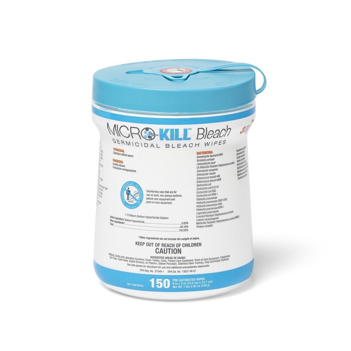 Medline MSC351410AN1 Micro-Kill Bleach Germicidal Bleach Wipes, 6'' x 5'', 150/Canister