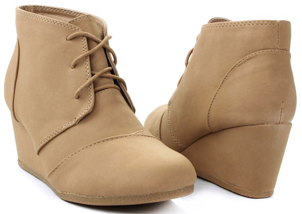 JJF Shoes Aloe Tan Lace-up Faux Nubuck High Top Wedge Ankle Sneaker Bootie-8.5 by JJF Shoes (Image #4)