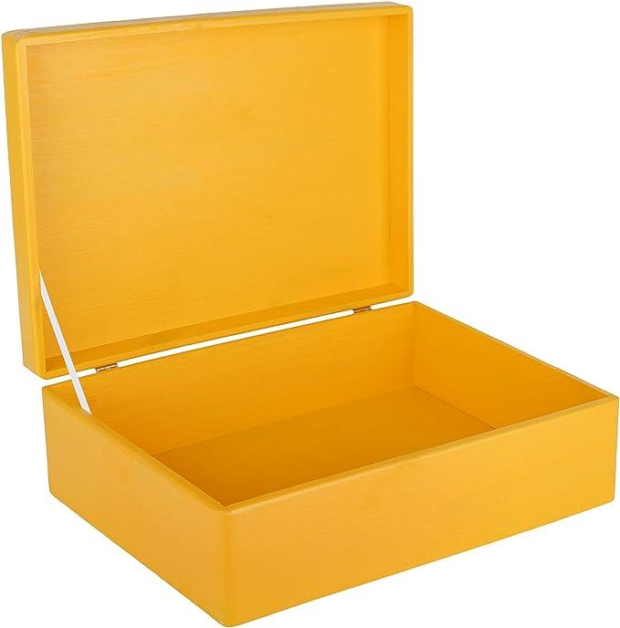 Creative Deco XL Amarilla Grande Caja de Madera para Juguetes   40 x 30 x 14 cm (+/-1cm)   con Tapa Cofre para Decorar   para Almacenar Documentos, Objetos de Valor, Herramientas: Amazon.es: Hogar