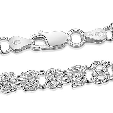Amberta 925 Sterling Silver 4.7 mm Byzantine Chain Bracelet Size 7.5