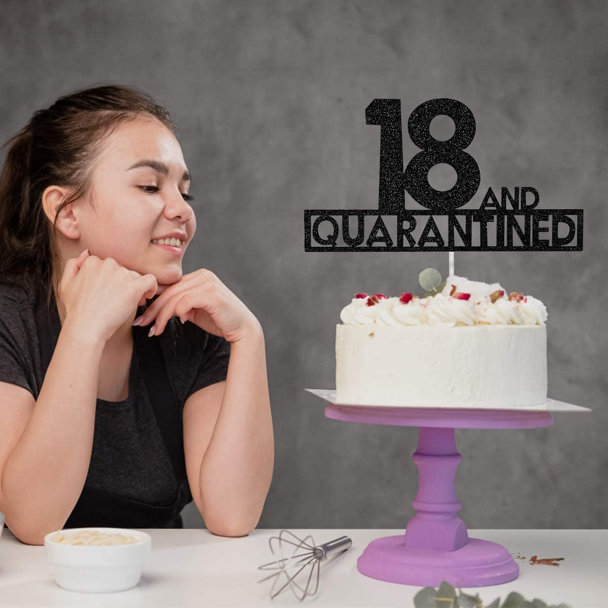 Black Glitter 18 and Quarantined Birthday Cake Topper 18th Birthday Party Decorations,Social Distancing Theme Birthday Party Supplies