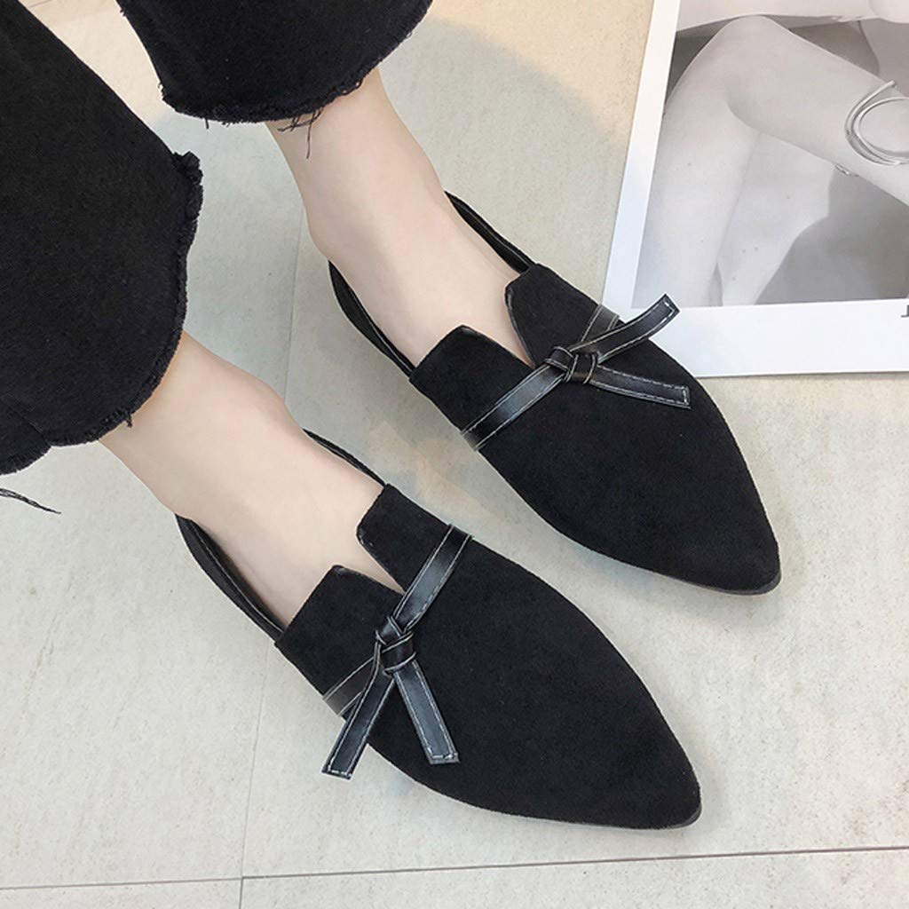 ABASSKY Women Bow Flats Shoes Candy Color Slip On Flat Shoes Ballet Flats Ladies Shoes