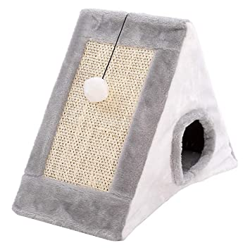 Cueva para Cama de Gato piramidal con Poste de rasguños, Cueva Triangular para Gato, Totalmente Plegable para Gatos/Cuevas para Gatos, Felpa, Gris, ...