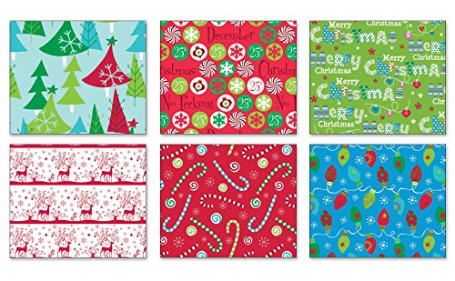 Pack of 6 Rolls of Holiday Wrapping Paper 6 Different Festive Contemporary Christmas Gift Wrap 30in x 14ft Rolls Included Xmas Presents, Candy Canes & Snowmen Gift Wrap Wrapping Paper Bulk