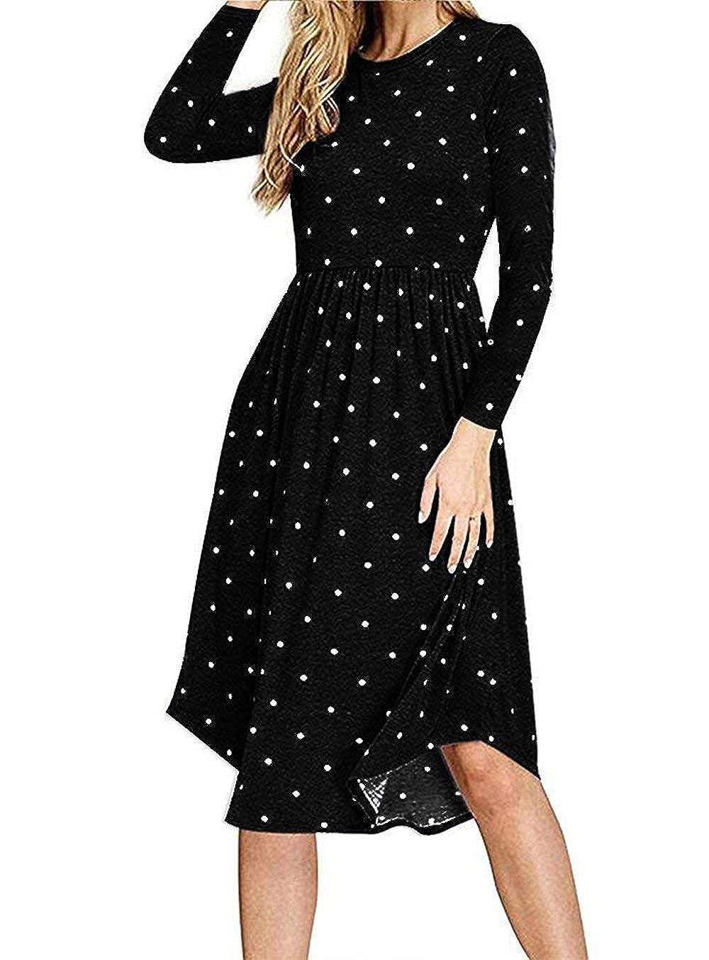 Black AMCLOS Women Pleated Polka Dot Dress with Pocket Swing Casual U Neck Midi Dress Long Sleeve