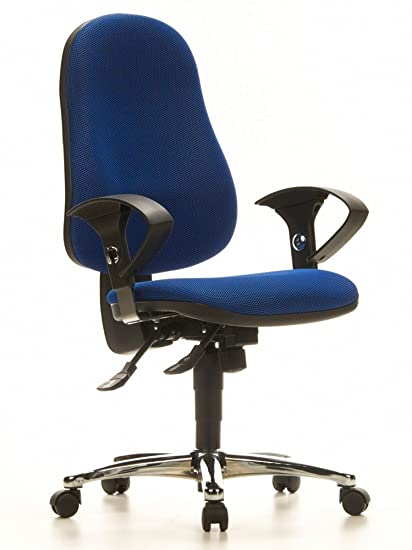Topstar 611241 silla de oficina SYDNEY tejido azul silla de escritorio base cromada