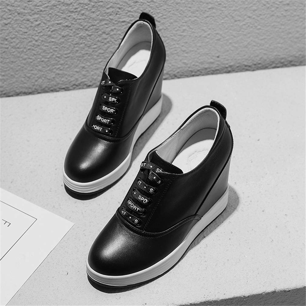 YXB Frauen Leder Wedge Schuhe 2019 Spring Spring Spring Wedge Schuhe Spitze Up Damen ' Schuhe Wedges Schuhe Runde Flat-Schuhe Weiß schwarz schwarz 39 ef356d