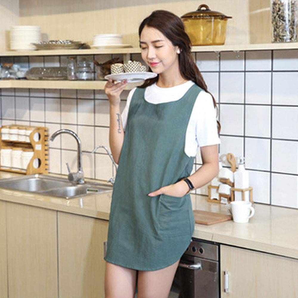 Women Girl New Stain Repellency Kitchen Apron Cooking Aprons Dress With Pocket