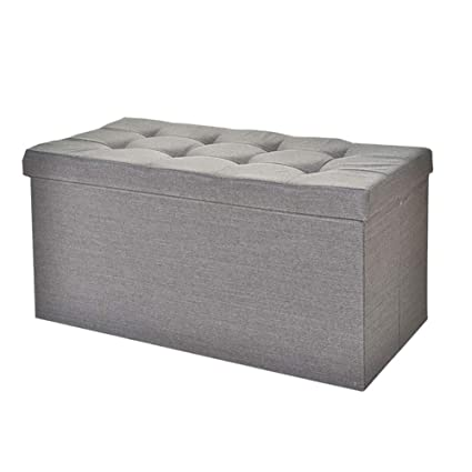 LFF  Folding Storage Stool Gray Space Saving Foldaway Ottoman Storage Box  Bench With Lid