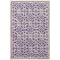 Safavieh Cambridge Collection CAM123K Handcrafted Moroccan Geometric Purple and Ivory Premium Wool Area Rug (4' x 6')