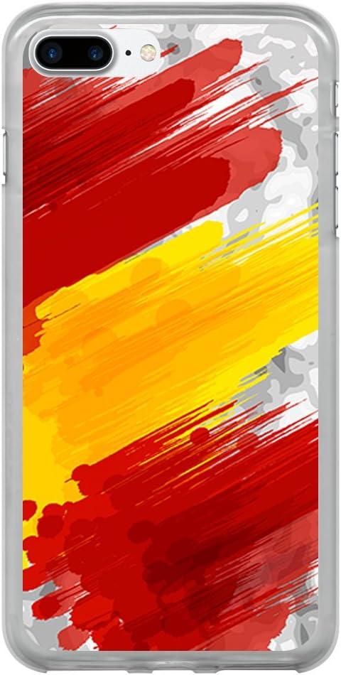 BJJ Funda Transparente para [ iPhone 7 Plus ], Carcasa de Silicona Flexible TPU, diseño: Bandera españa, Pintura de brocha sobre Fondo Abstracto: Amazon.es: Electrónica