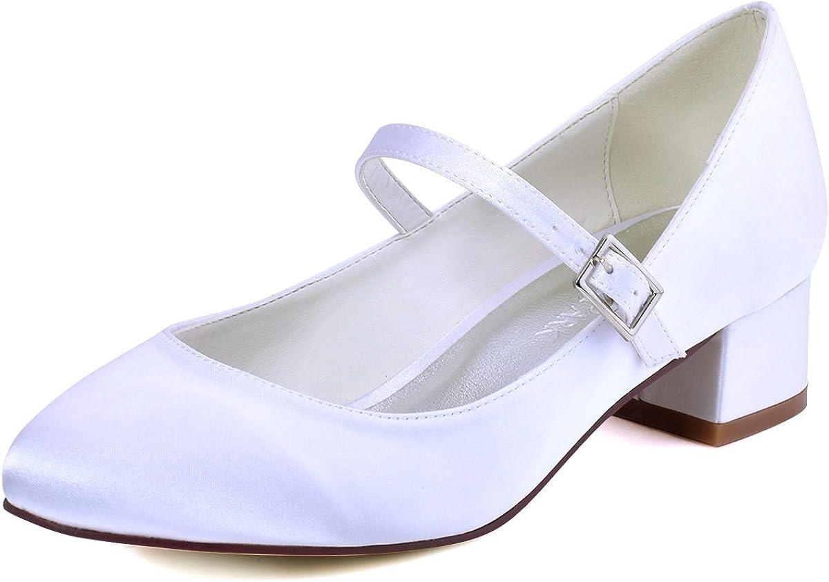 ElegantPark Mujeres Cerrado Toe Chunky Tal/ón Mary Jane Bombas Sat/én Zapatos de Vestir de Noche