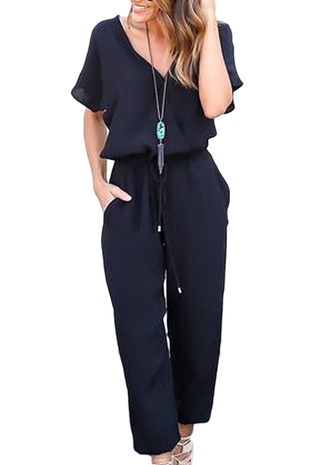 38ac49a98fb6 Mupoduvos Women Summer Plain Short Sleeve V Neck Chiffon Jumpsuit Pants  Romper  Amazon.ca  Clothing   Accessories
