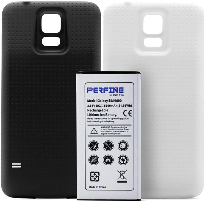 Perfine 5600mAh NFC Li-ion Batería de Reemplazo para Samsung Galaxy S5/I9600 + 2 Cubiertas Trasera Blanco Negro: Amazon.es: Electrónica