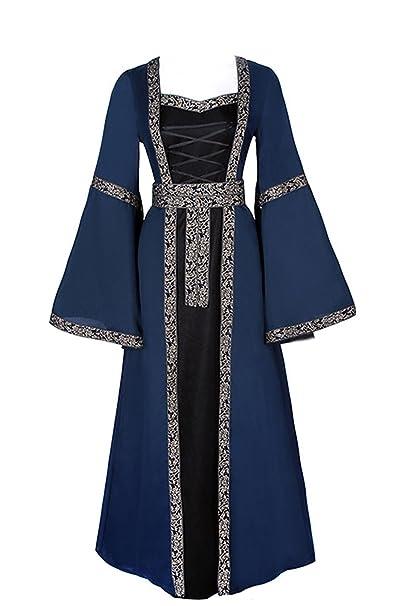 lancoszp Vestido de Traje Renacentista Medieval Vestido Largo de Estilo Victoriano Gotico con Mangas Llamaradas Azul: Amazon.es: Ropa y accesorios
