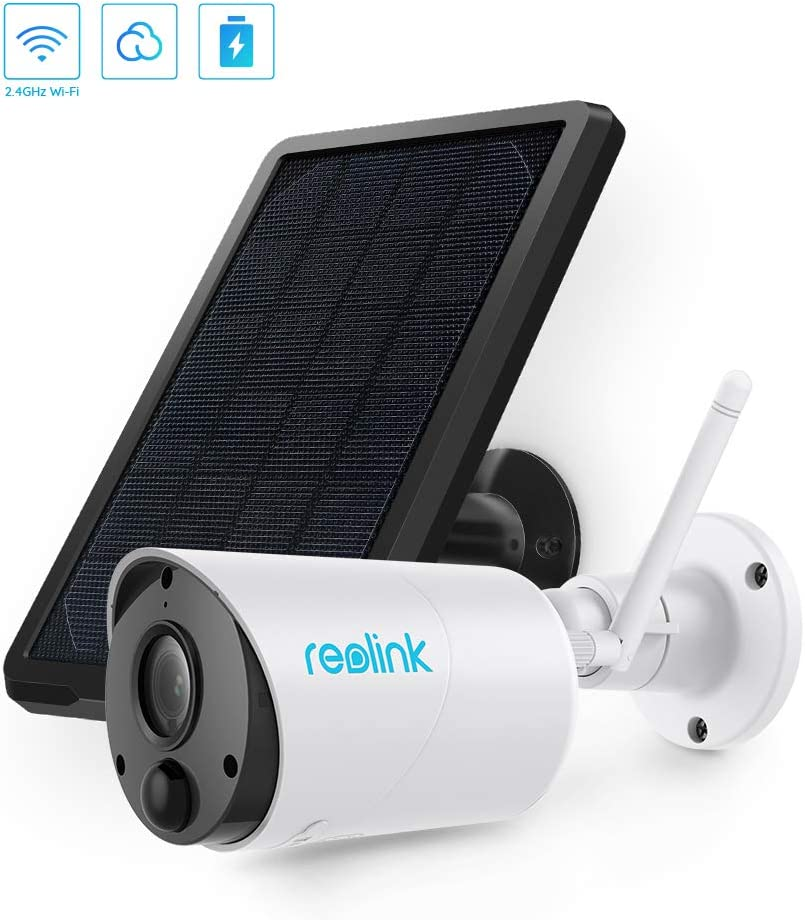 Outdoor Security Camera System Wireless, Solar Battery Powered, 1080p Wirefree Waterproof 2-Way Audio Night Vision w/PIR Motion Sensor, Support Alexa/Google Assistant/Local SD, Argus Eco+Solar Panel